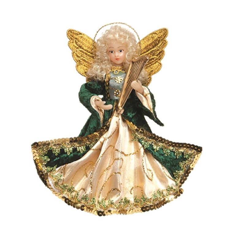 Green Velvet Angel with Harp