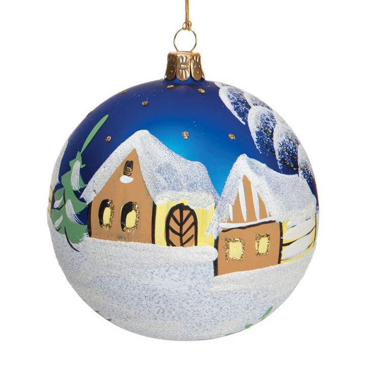 Blue Series Glass with Snow Village Scene