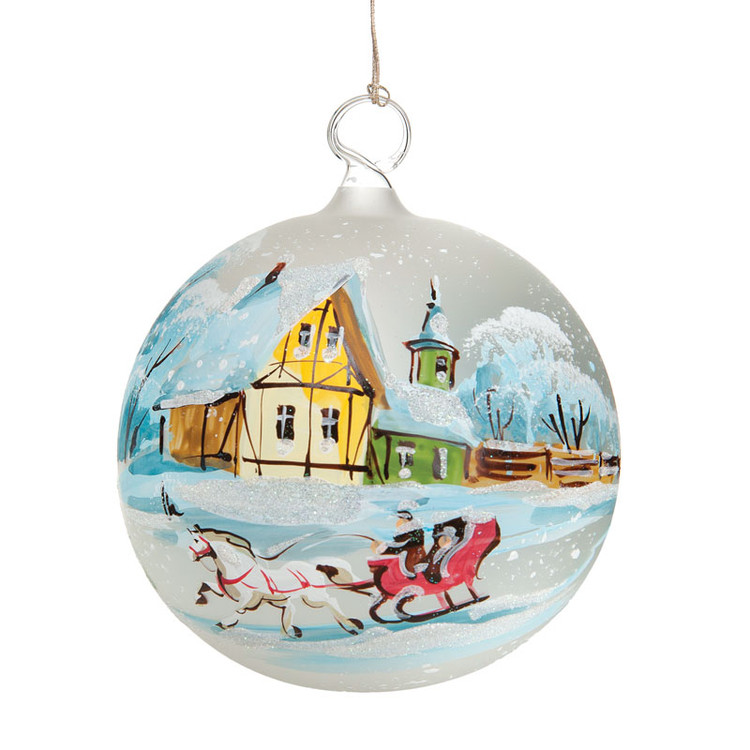 Sleigh Ride Painted Glass