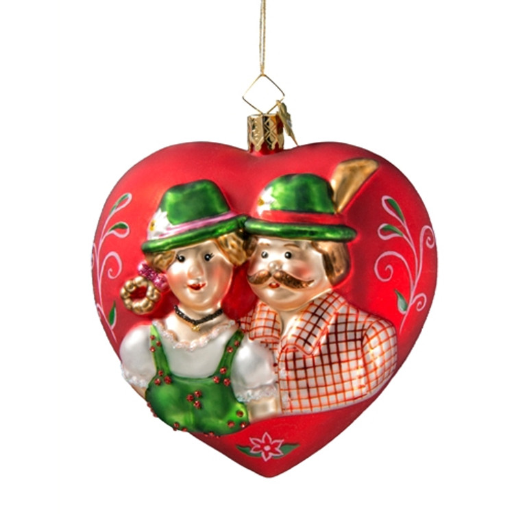 Bavarian Couple Heart - Lrg