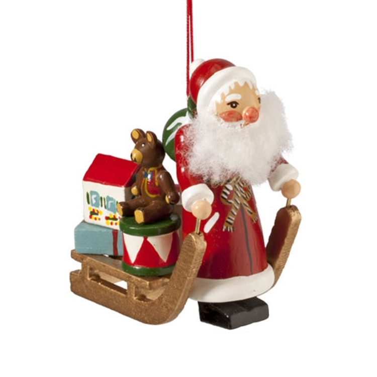 Santa with Sleigh of Toys Wood Ornament