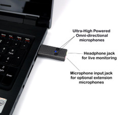 Ultra High Power USB Omnidirectional Microphone with advanced headphone monitoring amplifier