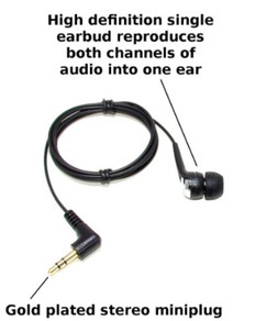 Premium - Audiophile High-Definition single earbud - live monitoring