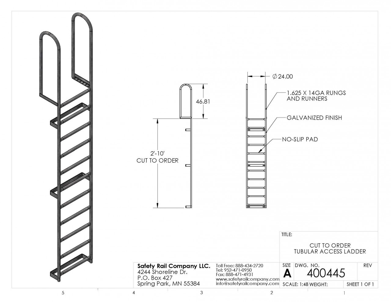 Src Fixed Access Ladder Cut To Required Length