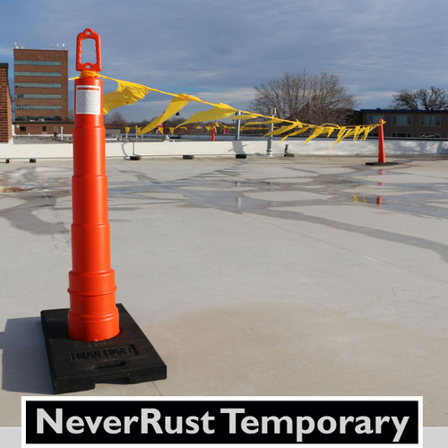 """Never-Rust Temporary Visual Warning Line System meet all applicable  OSHA's standards. Flag height held at 39"""" on stanchion and capable of withstanding 16 lb. force at 30"""". Our 30 lb. rubber base is made from recycled materials. High visibility polyethylene cone stanchion is very durable and stacks for easy storage."""