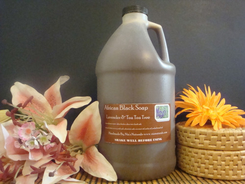 Lavender & Tea Tree - RAW LIQUID AFRICAN BLACK SOAP 64 OZ (1/2 GALLON) Free Shipping
