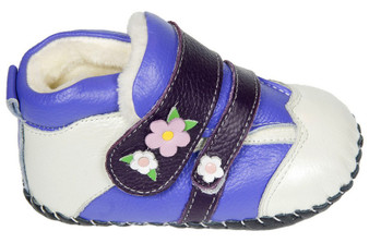 "Freycoo ""Flower Power"" Purple Leather Soft Sole Boots"