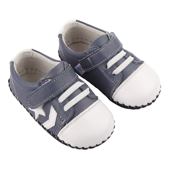 "Freycoo ""Cruise"" Grey Blue Leather Soft Sole Shoes"