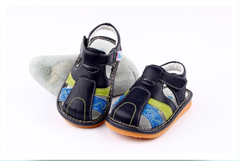 "Freycoo ""Seth"" Navy Leather Sandals"