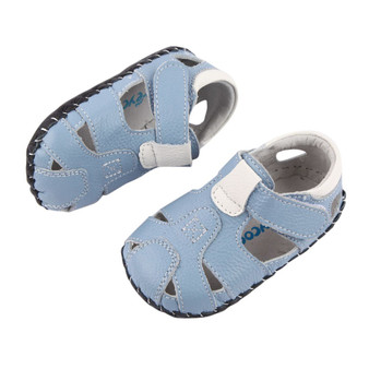 "Freycoo ""Breezy"" Blue Leather Soft Sole Sandals"