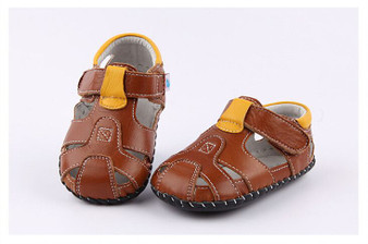 "Freycoo ""Breezy"" Brown Leather Soft Sole Sandals"