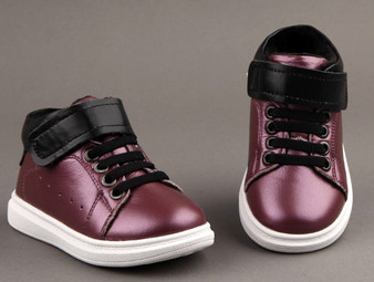 "Freycoo ""Smooth"" Purple Leather Hi top Shoes"