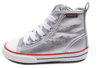 EZ Shoes Canvas Metallic High Tops Silver