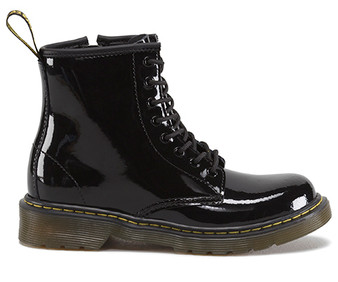 Dr Martens Delaney Black Patent Leather Children's Boots