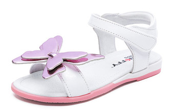 "Snoffy ""Shine"" White Leather Sandals"