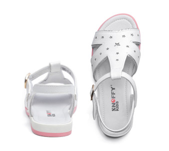 "Snoffy ""Twinkle"" White Leather Sandals"