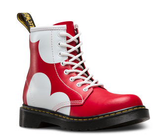 Dr Martens Delaney Heart Red Leather Boots