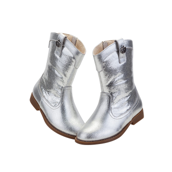 """TS """"Shine"""" Silver Leather Boots"""
