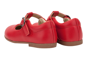 "TS ""Megs"" Red Leather T-Bar Shoes"