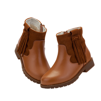 "TS ""Winona"" Caramel Leather Ankle Boots"