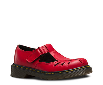 Dr Martens Ashby Red Rouge Leather Infant Girls T Bars