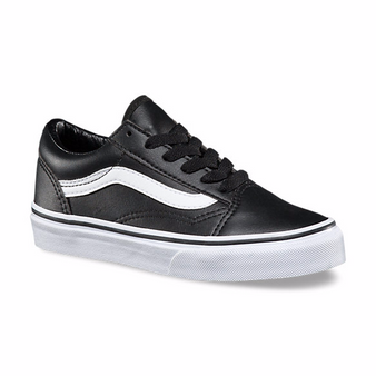 Vans Old Skool  Black Leather Kids Shoes