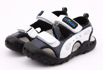 "Freycoo ""Active"" white & blue leather sandals"
