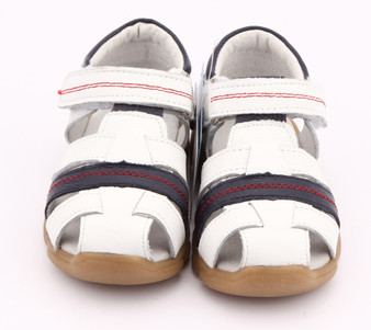 "Freycoo ""Max"" White Leather Sandals"