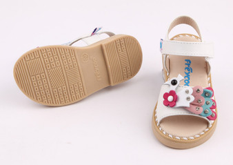 "Freycoo ""Peacock"" White Leather Sandals"