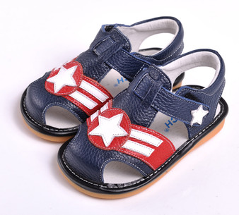 "Caroch ""Starlight"" Navy Leather Sandals"