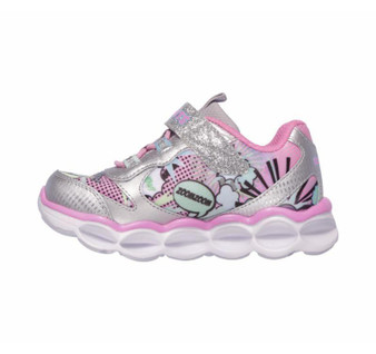 Skechers Lumi-Luxe Silver girls light up runners