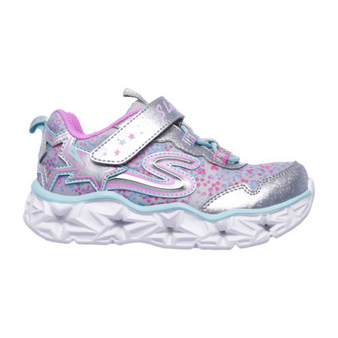 Skechers Galaxy Lights Silver Light Up Toddler Girls Sneakers