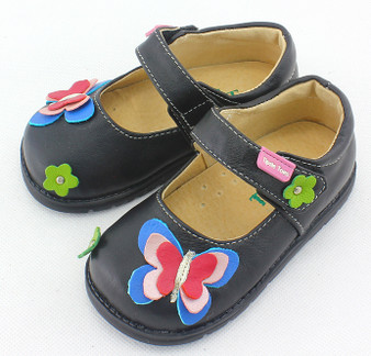 Tipsie Toes Butterfly Black Leather Shoe