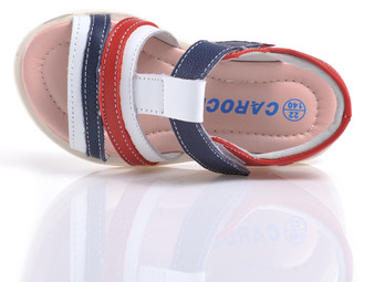 "Caroch ""Lenni"" Red, Navy & White Leather Sandals"