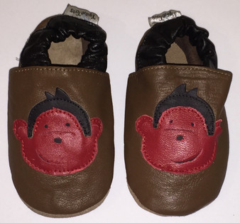 """Tipsie Toes """"Monkey"""" Brown Leather Soft Sole Shoes"""