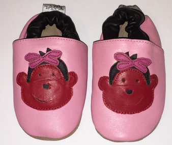 """Tipsie Toes """"Monkey"""" Pink Leather Soft Sole Shoes"""
