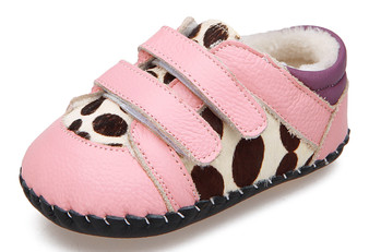 """Caroch """"Jungle"""" Pink Leather Soft Sole Shoes"""