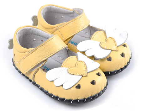 """Caroch """"Angel"""" Yellow Leather Soft Sole Shoes"""
