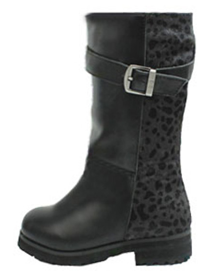 Buddy Jungle Black Leather Boots Aus 4 only