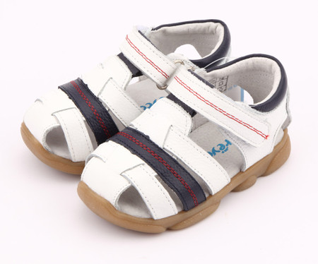 """Freycoo """"Max"""" White Leather Sandals"""