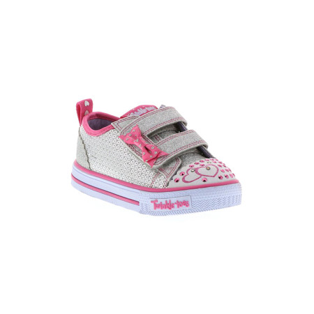 Skechers Twinkle Toes Itsy Bitsy Silver girls Light Ups US7 only