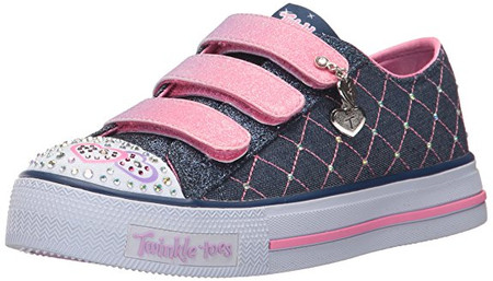 Skechers Twinkle Toes Dazzle Dash Denim Light Up Girls Shoes