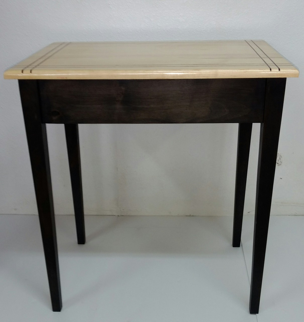 Shaker Maple Table W/African Blood Wood Inlay