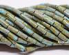 9x4mm Aged Wampum Blue Turquoise Picasso Bugle (1/4 Kilo)