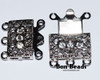 18x17x7mm Six Hole Silver Box Clasps with Rhinestones (Each)