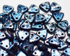 6mm 2 Hole Triangles Granite Galaxy Lapis (50 Grams)