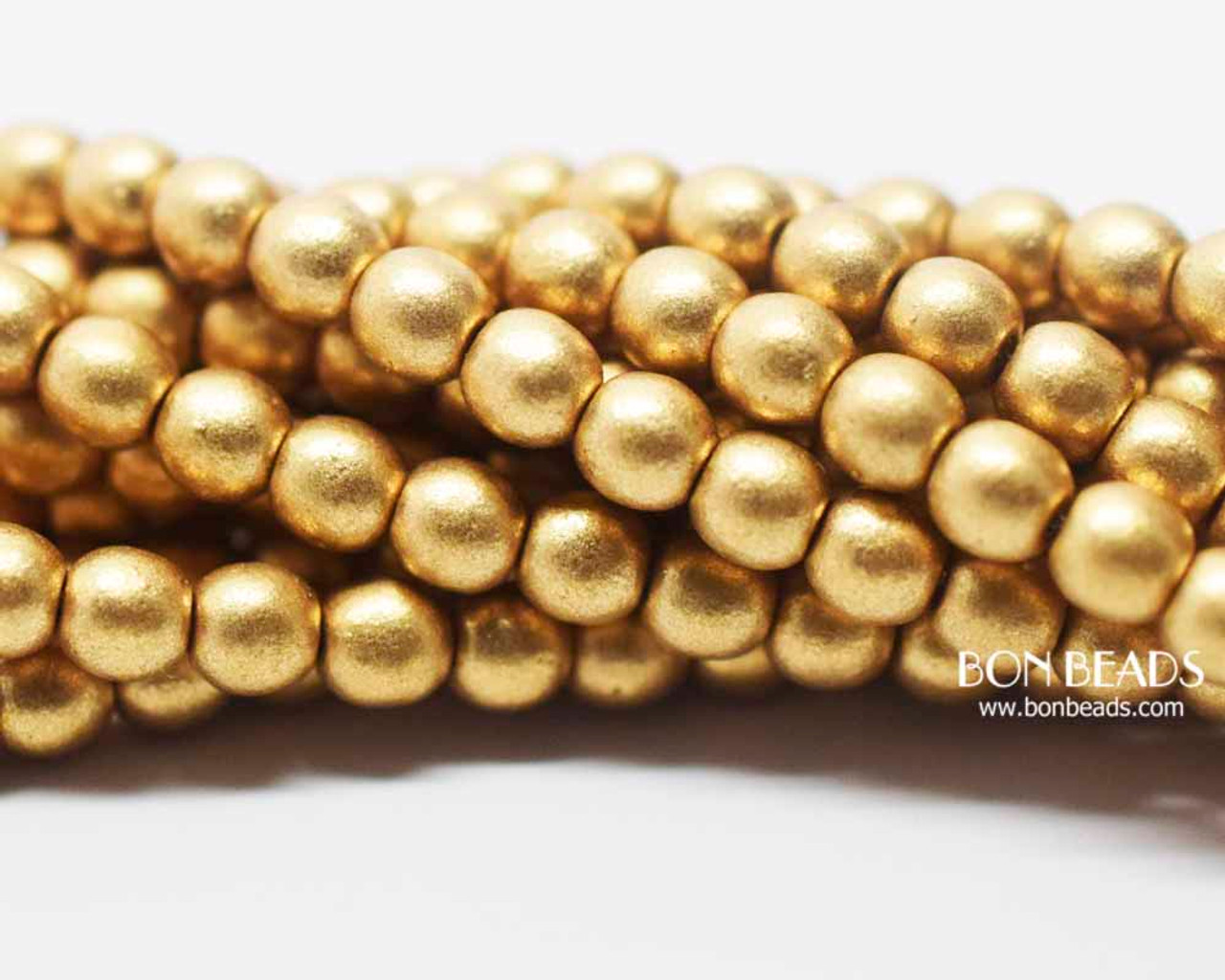 4mm Aztec Gold Smooth Round Druk 600 Pieces Bon Beads