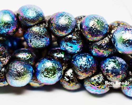 9x8mm Full Chrome AB Etched Wide Cap Mushroom Buttons (150 Pieces)