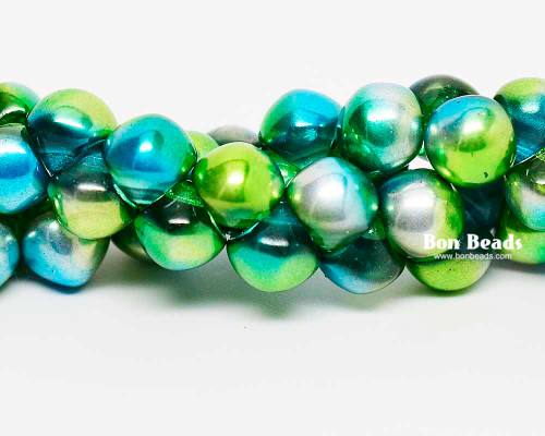 7mm Aqua Celestial Wide Cap Mushroom Buttons (150 Pieces)