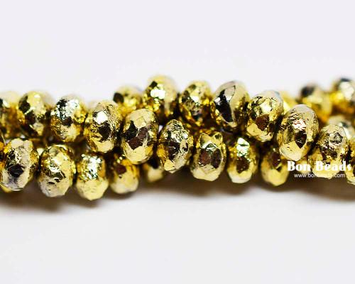 4x7mm Gold Ore Etched Rondelles (300 Pieces)